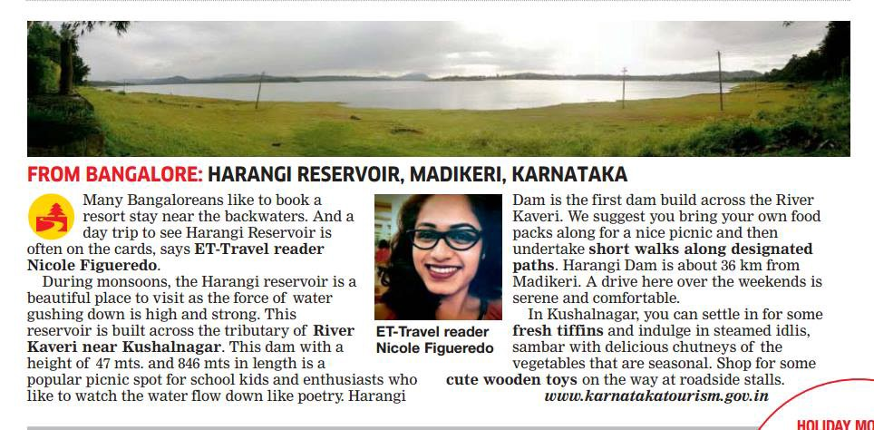Nicole's recommendation in The Economic Times Travel - August 27, 2015
