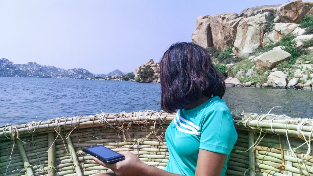 Coracle ride at Lake Sanapur, Hampi