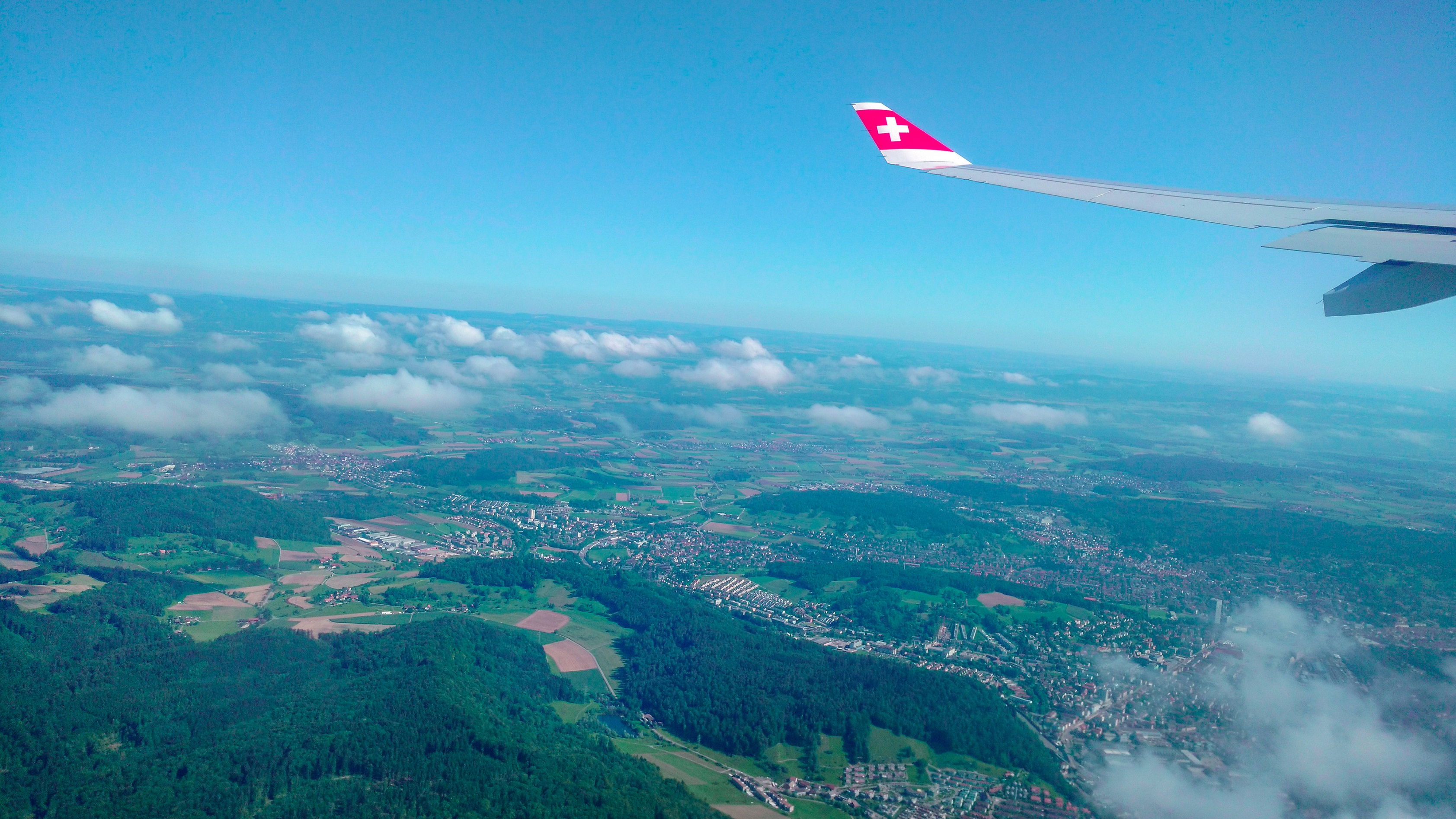 Taking off from Zurich by Swiss International Airlines