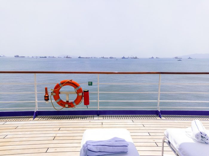 A view from one of the many decks on the RSSC Seven Seas Voyager